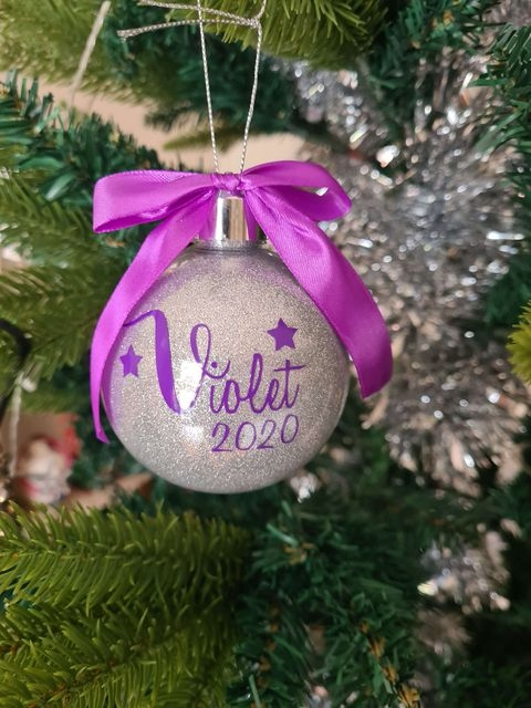 Personalised Glittered Christmas Baubles