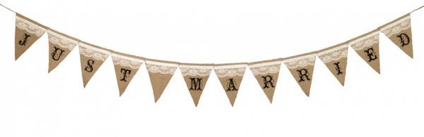 Burlap & Lace Just Married Pennant Banner