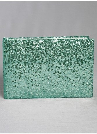 Mint Green Shiny Sequin Wedding Guest Book