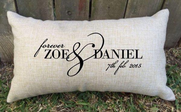 'Forever' personalised couple wedding cushion