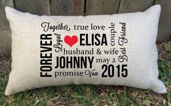 Wedding Gift Husband To Wife : Husband & Wife Lumbar Cushion - Wedding Gift Keepsakes Weddings ...