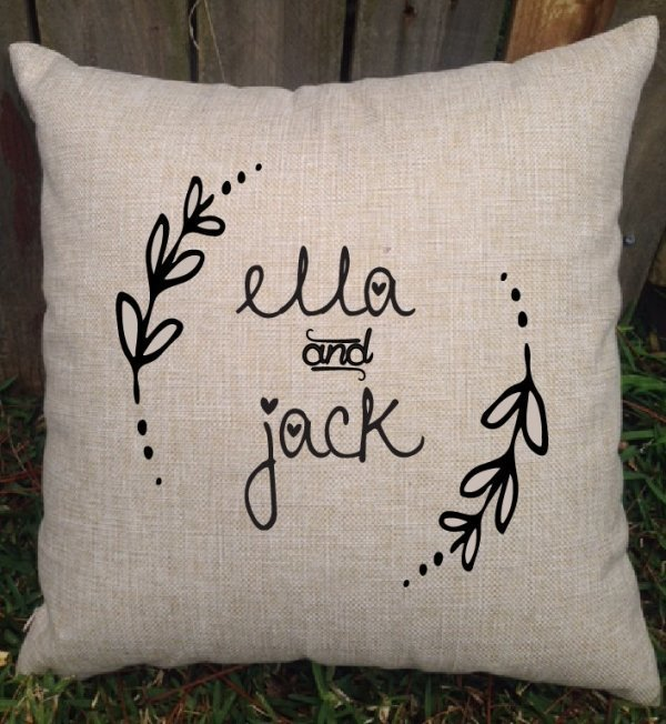 Personalised Rustic Wedding Couple Cushion
