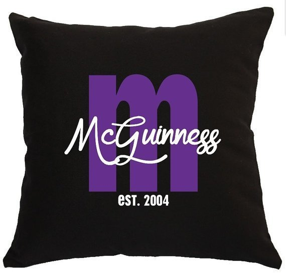 Funky Personalised Surname Wedding Cushion