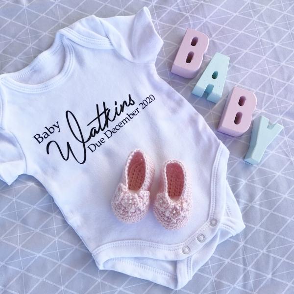 Personalised Baby Pregnancy Announcement Onesie Design 2