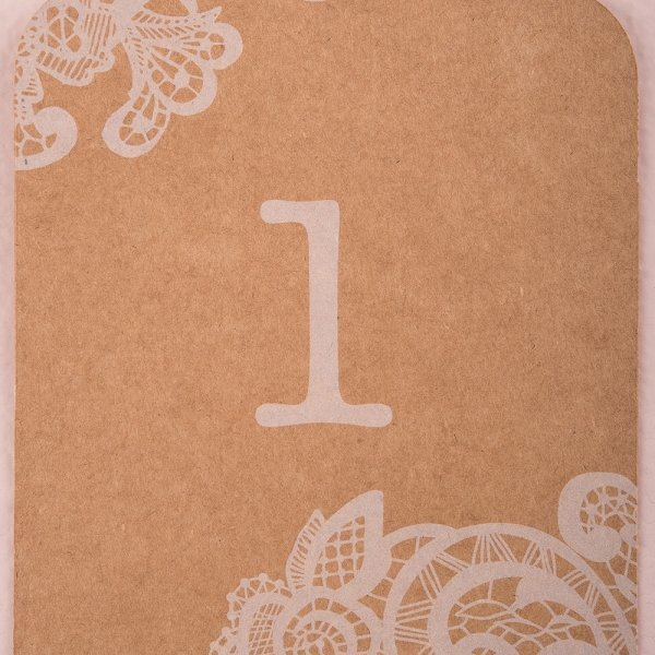Large Kraft Table Number Tags With White Vintage Lace Print