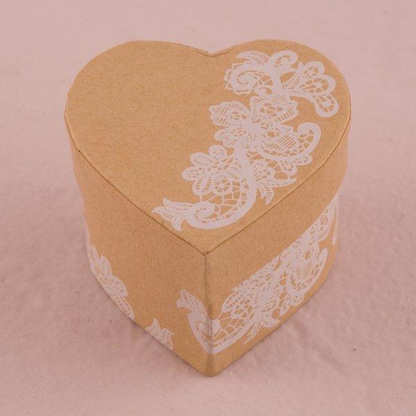 Heart Kraft Paper Favour Box with Vintage Lace Print
