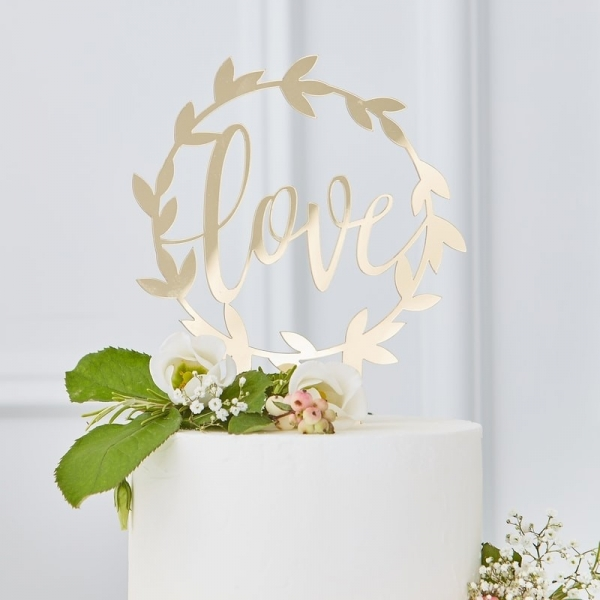 Acrylic Gold Love Wedding Cake Topper