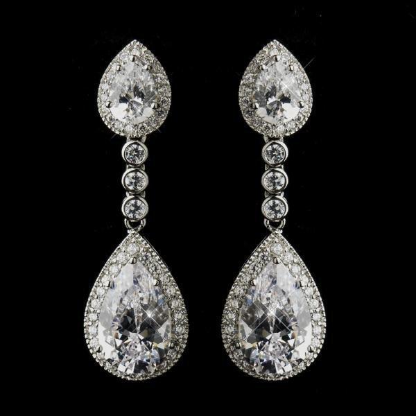 Antique Dangle Teardrop CZ Crystal Earrings
