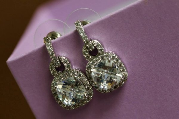 Antique Rhodium Silver Pave Princess Square Earrings