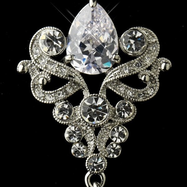 Antique Silver Clear Dangle Tear Drop Crystal Bridal Earrings