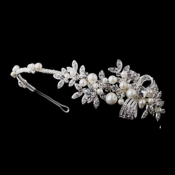 Antique Silver Crystal & Pearl Bridal Headband
