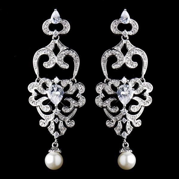 Antique Silver Diamond White Pearl Chandelier Earrings