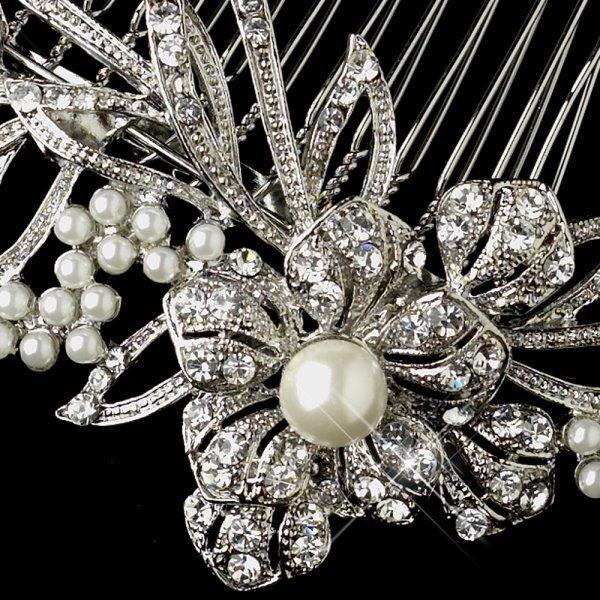 Antique Silver Diamond White Pearl & Rhinestone Floral Vine Comb