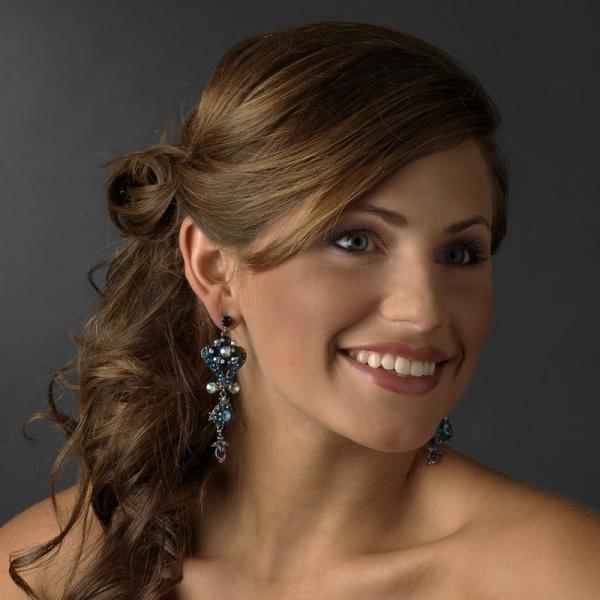 Aqua Blue Chandelier Earrings