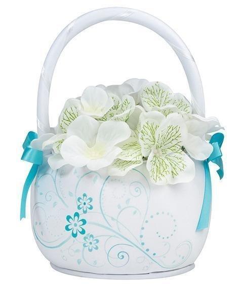 Aqua Floral Flower Girl Basket