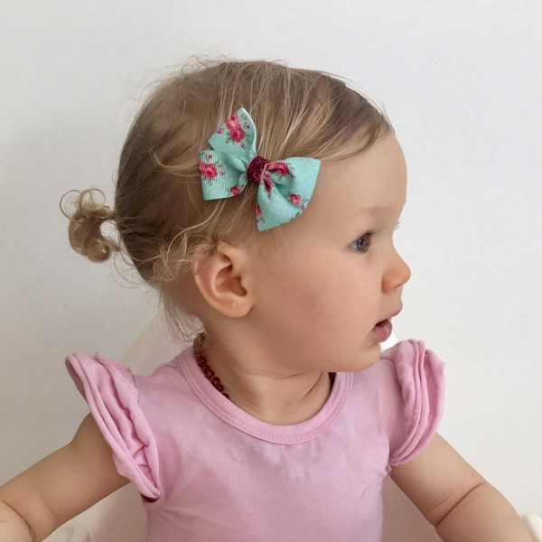 Aqua & Hot Pink Floral Grosgrain Ribbon Bow Hair Clip or Headband