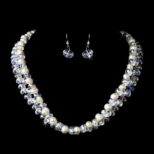 Silver Aurora Borealis & Ivory Pearl Necklace Set
