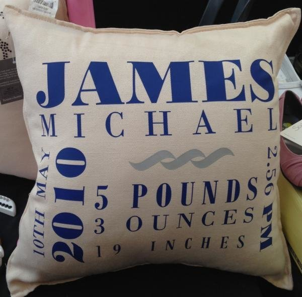 Baby Boy Birth Announcement Pillows