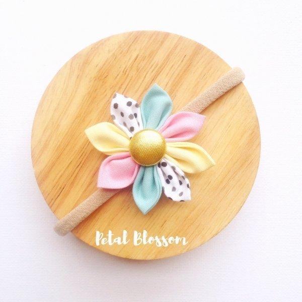 Baby Cake Pastel Fabric Flower Blossom Girls Headband