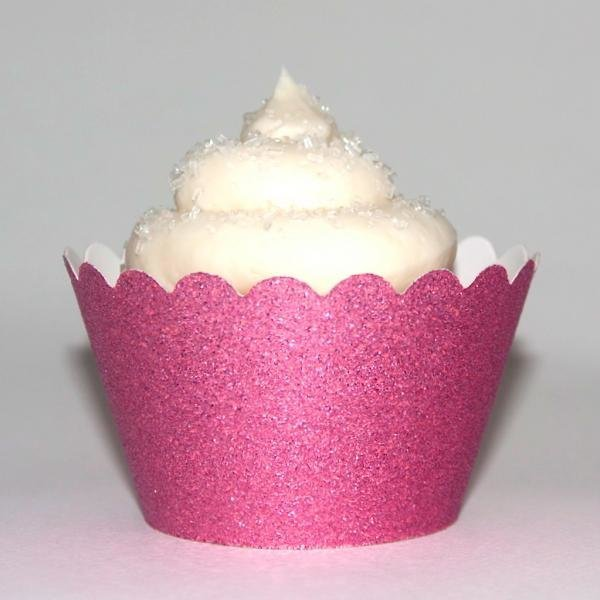 Baby Pink Glitter Cupcake Wrappers - Pack of 12