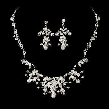 Beautiful Silver Wedding Necklace Set