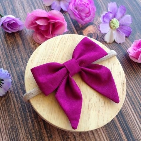 Berry Fabric Sailor Bow Headband or Clip