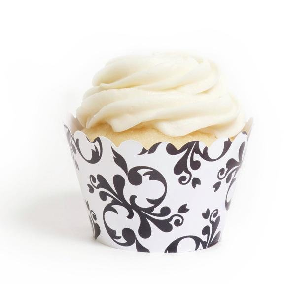 Black Filigree Cupcake Wrappers - Pack of 12