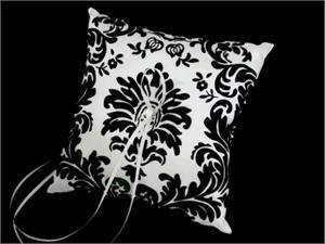 Black Flocked Ring Pillow