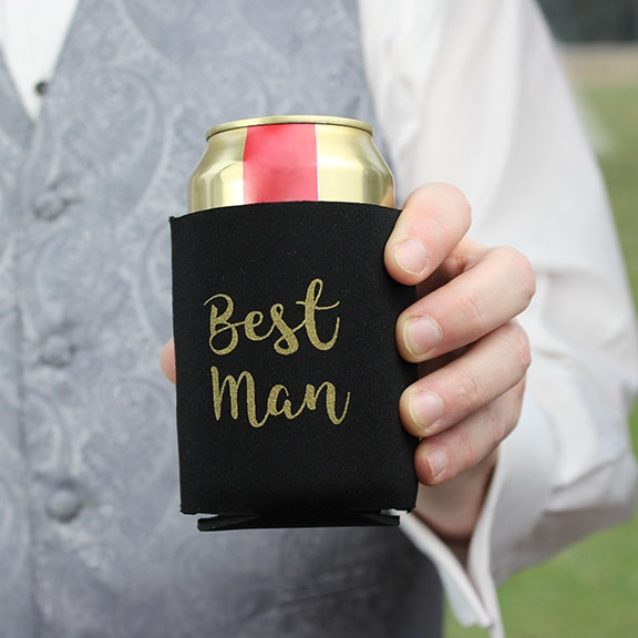 Black & Gold Best Man Stubby Cooler