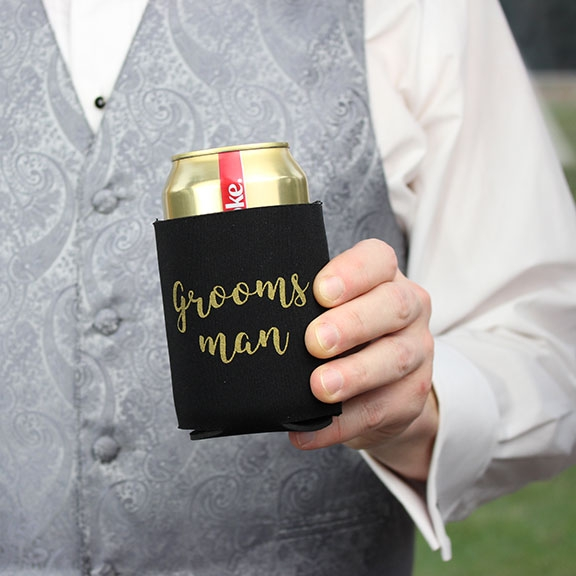 Black & Gold Groomsman Stubby Cooler