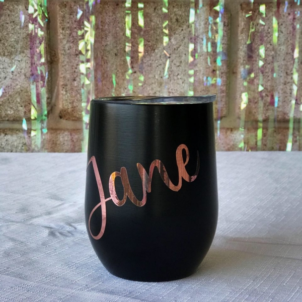 Black Personalised Insulated Wine Tumbler Cup 12oz
