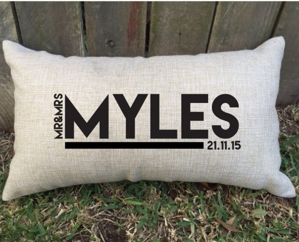 Block Font Personalised Wedding Lumbar Cushion - Gift