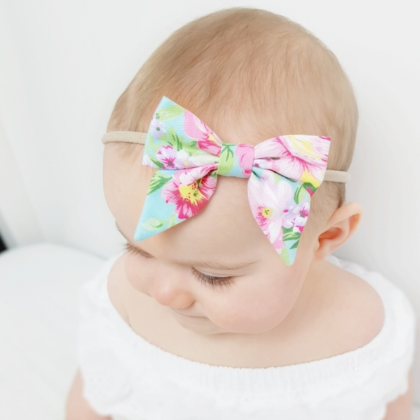 Blue Tahitian Floral Baby Bow Headband or Clip