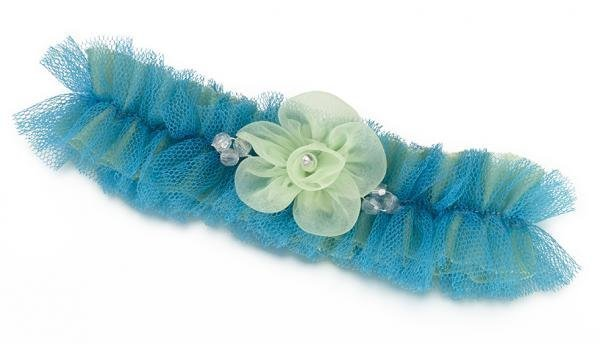 Blue & Green Tulle Garter