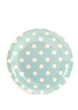 Blue Polkadot Cake Plates - Pack of 12