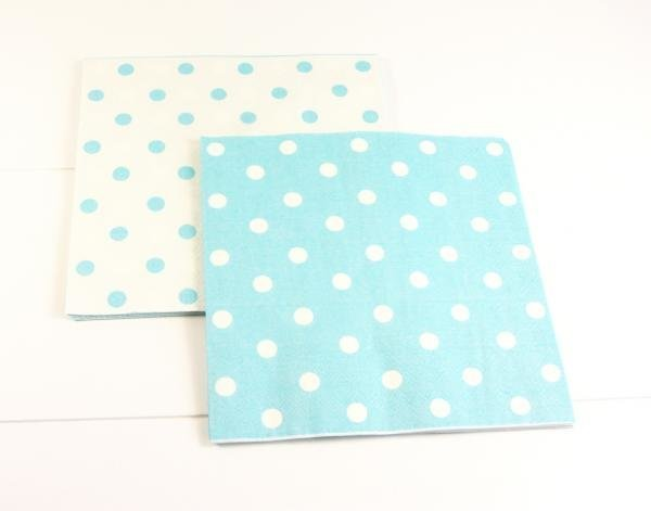 Reversible Blue Polkadot Napkins - Pack of 12