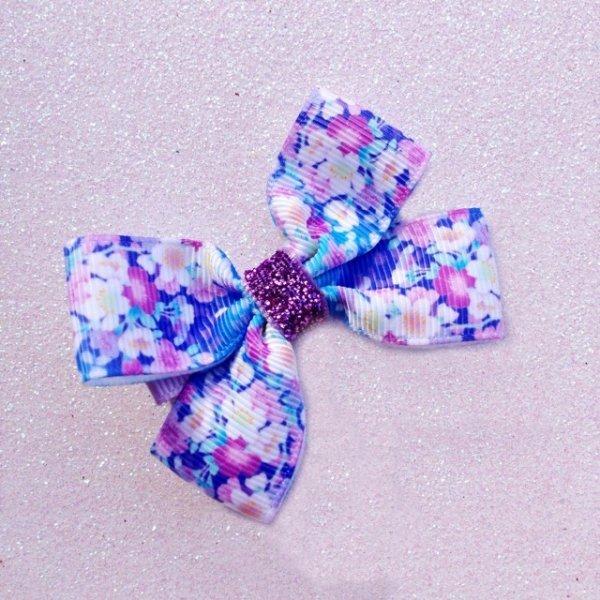 Bright Blue Floral Grosgrain Ribbon Bow Hair Clip or Headband
