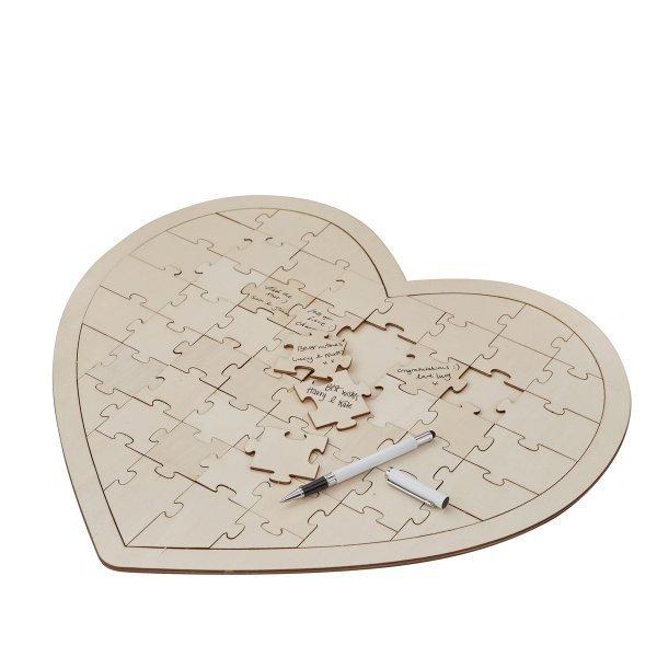 Wooden Boho Heart Jigsaw Puzzle Wedding Guest Book Alternative
