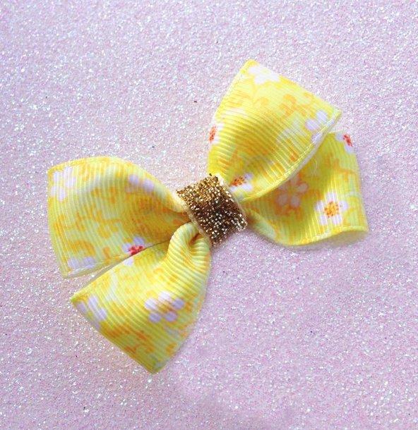 Bright Yellow Floral Grosgrain Ribbon Bow Hair Clip or Headband