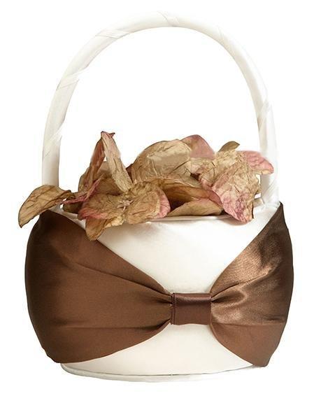 Brown On Cream Flower Girl Basket