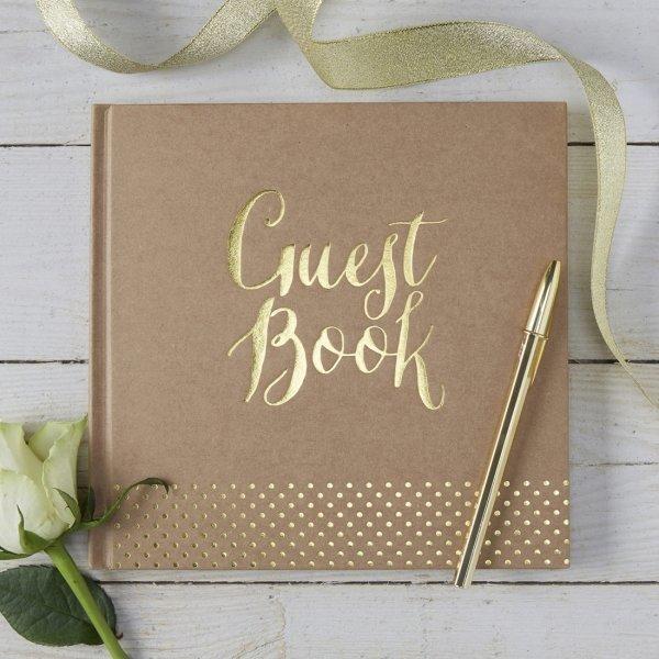 Kraft Gold Foil Wedding Guest Book