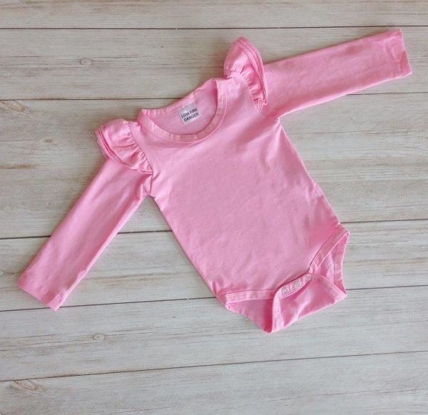 Bubblegum Pink Long Sleeve Flutter Onesie