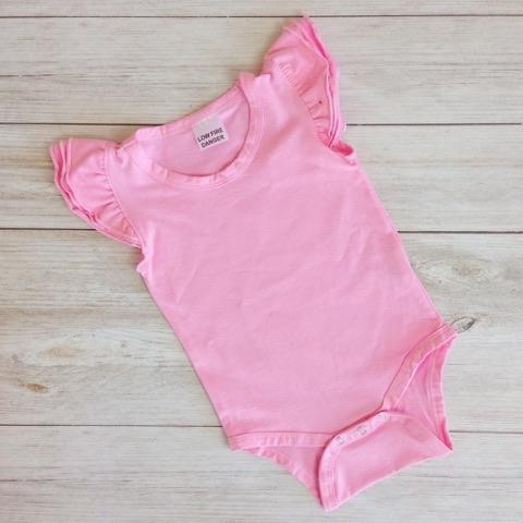 Bubblegum Pink Short Sleeve Flutter Onesie