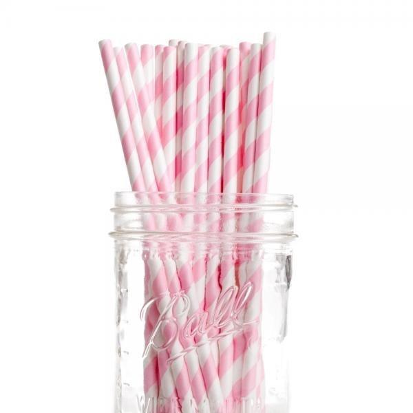 Bubblegum Pink Stripe Paper Straws - Pack of 25
