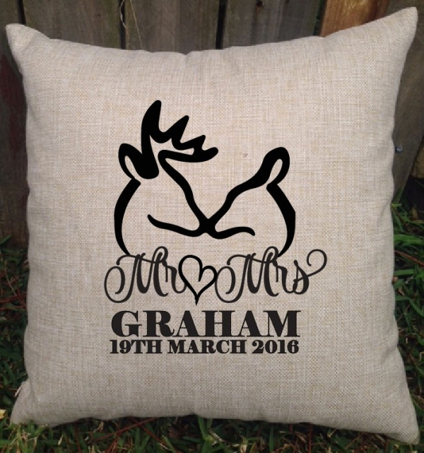 Buck & Doe Mr & Mrs Personalised Wedding Cushion