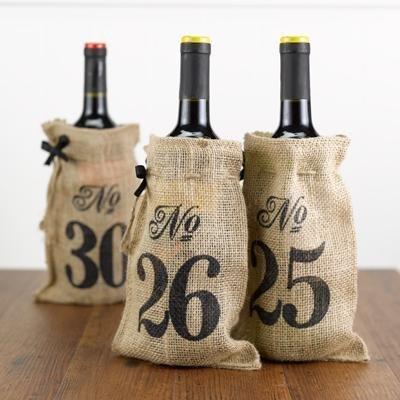 Burlap Table Number Wine Bags 21-30