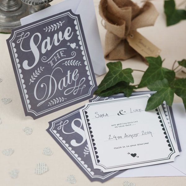 vintage chalk effect save the date cards wedding stationery how