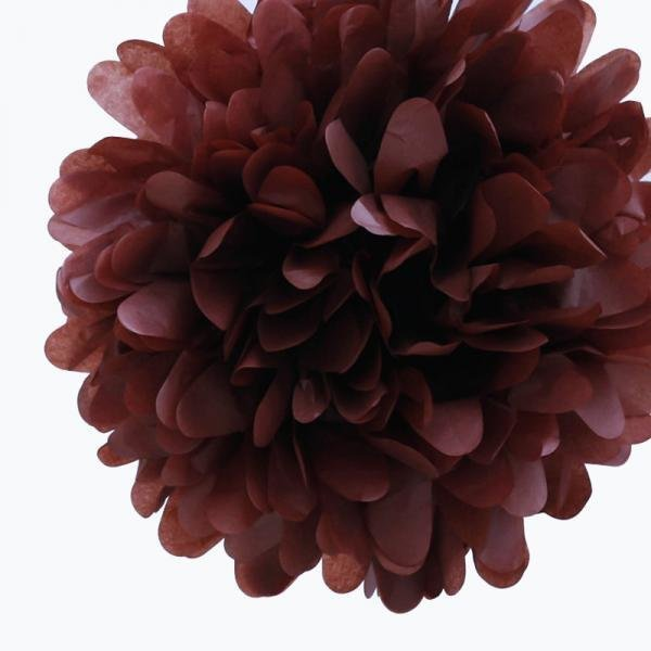 Chocolate Mini Tissue Paper Pom Poms - Pack of 8