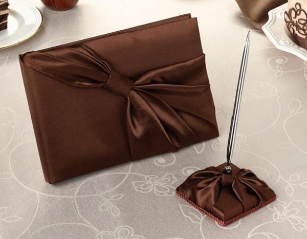 Chocolate Brown Wedding Guest Book & Pen Set