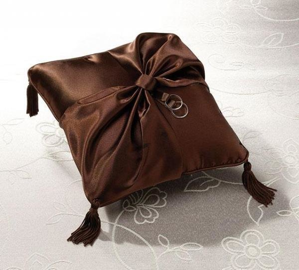 Chocolate Brown Wedding Ring Pillow